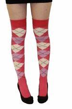 Señoras más la rodilla Argyle calcetines largos Golf cuadros Diamante Crema Y Rosas