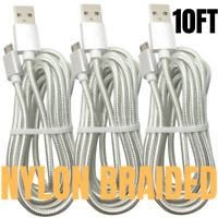 10Ft Micro USB Charger Fast Charge Cable Data Sync Cord For Samsung Android LG