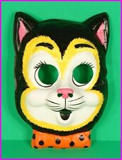 CHILDS CAT COSTUME MASK Kids by Ben Cooper Vintage BLACK LIGHT GLOWING NEW