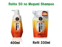 50 no Megumi Hair Moist Shampoo Rohto Japan 400ml / refil 330ml