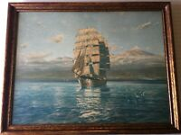 "Antique Hans Bohrdt Nautical Ship Boat Framed Art Print, 31 1/2"" x 23 1/2"""