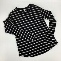 BP Nordstrom Soft Pocket Stripe XS Top Tee Long Sleeve Black White Cotton EE2