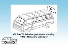 VW Bus T3 Satz Scheibendichtungen 6-teilig,  orig. Qualität ohne Zierkeder 79-85