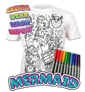 Splat Planet Colour-in Mermaid T-Shirt 10 Magic Pens-Colour-in and Wash Out