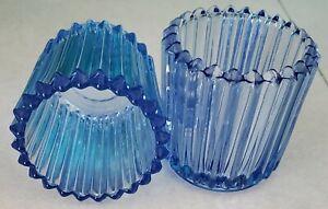 """2 Vintage 2-1/2"""" light blue glass votive cups candle holders ribbed design"""
