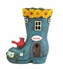 "Boot""Home"" Garden House Outdoor Decor with Solar Lights, Bird and Decorative Flo"