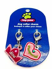 Top Paw Dog Collar Charm Set Diva Pampered Pink Heart Crown Diamond Clip New 1pc