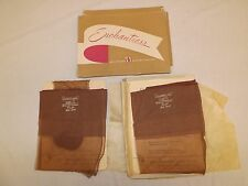 Vtg 2 Pr Unworn Beige Blush Paramized Coquette Thigh Hi Cuban Nylon Stockings 9