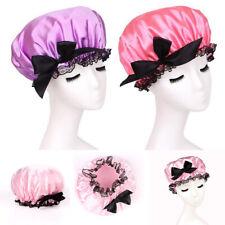 Women Stretch Bowknot Stain Night Sleep Cap Hair Bonnet Hat Silk Wide Head Cover