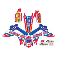 2013 - 2016 HONDA CRF 450R GRAPHICS KIT CRF450R LUCAS OIL : RED / BLUE DECALS