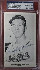 VINT. Orioles 1958 BROOKS ROBINSON autograph/auto/signed photo postcard PSA/DNA
