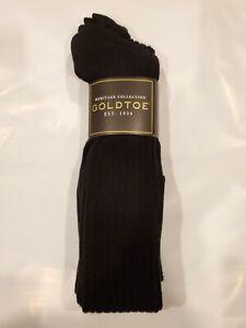Gold Toe Men's Socks, Men's Gold Toe 1446H Windsor Wool OTC, 3 pair pack, Black