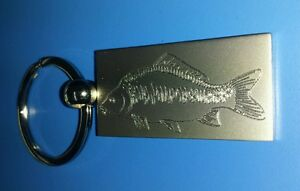 Personalised Chrome CARP FISHING  Keyring In Gift box with your message ANY TEXT