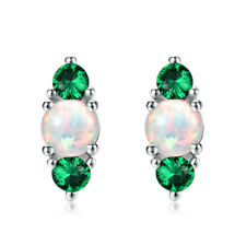 Exquisite green crystal white artificial Imitation Opal pendant earrings wedding