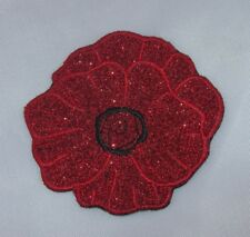 Embroidered Ruby Red Glitter Sparkle Poppy Flower Applique Jacket Patch Iron On