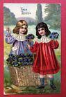 CPA. 1910. Vœux Sincères. Chromo. Petites Filles. Fleurs. Panier. Robes.