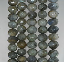 """11X8-12X8MM LABRADORITE GEMSTONE GRADE A FACETED RONDELLE LOOSE BEADS 7"""""""
