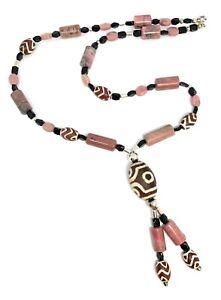 Lyre Studio Designer Rhodonite & Agate & Tibetian Bead Necklace