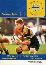 WorcestervHenley Hawks 20 Jan 2001 Rugby Programme