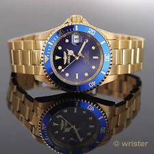 18k Gold IP Invicta Pro Diver AUTOMATIC Blue Dial Date Bracelet 40mm Men's Watch