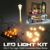 LED Light Lighting Kit ONLY For Lego 10260 Downtown Diner Building Bricks