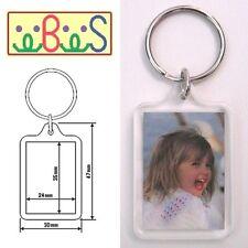 80x Blank Acrylic Keyrings 41x30mm Frame & 35x24mm Photo key ring plastic F1444