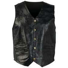 New Mens Genuine Black Leather Motorcycle Vest Bike Summer Tour Ride Large Gift