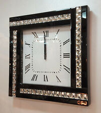 Modern Diamonte Crystal Mirrored Glass Square Wall Clock 45cm Black Frame 918B