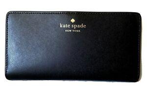 NWT Kate Spade Schuyler Large Slim Bifold Wallet Black Smooth Leather Clutch
