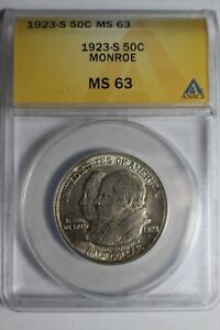 1923 S Monroe Commemorative Silver Half Dollar ANACS MS63 #221