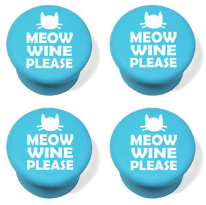 Silicone Wine Bottle Stopper Set of 4 Meow Wine Please More Wine Funny Cat