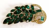 Peel Brooch Pin Green Rhinestone Crystal Leaf Vintage