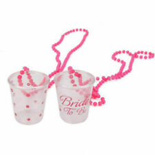 2PCS Bride To Be Shot Glasses on a Chain Necklace Hens Do Girl Night Out Party