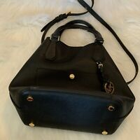 Authentic MICHAEL KORS Greenwhich Black LG Grab Bag Leather Black/White Handbag