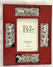 """Silvertone Brown 8X10"""" Metal Horses Frame Holds 4X6"""" Photo"""