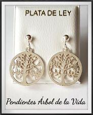 ARBOL DE LA VIDA  TREE OF LIFE SILVER PALTA LEY  ARBOL VIDA PENDIENTES PLATA