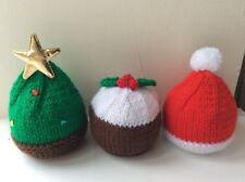 Christmas Tree Santa Hat Pud Cover Chocolate Orange Knitting Pattern Only