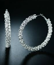 Sevil 18K White Gold Plated Endless Crystal Hoop Earrings