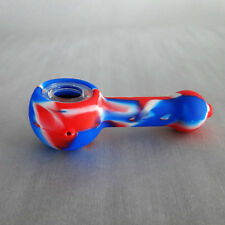 "Red, White & Blue Bubble Silicone 4.75"" Pipe Glass Screen Bowl Smoking"