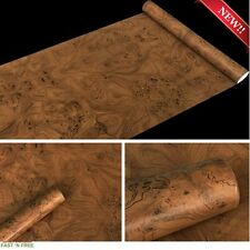 Vintage Brown Wood Wall Paper Film Adhesive Peel Stick Cabinet Cover Counter TOP