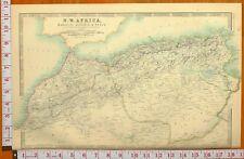 1900 LARGE ANTIQUE MAP NORTH WEST AFRICA MAROCCO ALGERIA TUNIS ORAN CONSTANTINE