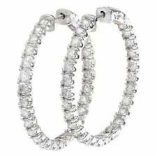 14k Solid White Gold Natural Full Cut Diamond Hoop Style Engagement Earrings