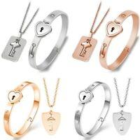 Bracelet jonc de verrouillage en acier inoxydable et collier pendentif clé mode