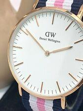 Daniel Wellington Womens Watch 36mm Rose Gold Case Blue White Pink DW00100034