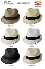 Straw Fedora Hat Trilby Cuban Cap Summer Beach Sun Panama Short Brim Men Women