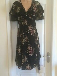 NEXT MATERNITY WRAP OVER FLORAL FRILL TEA DRESS - SIZE 10