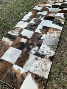 COWHIDE TABLE RUNNER  PATCHWORK CARPET Leather RUG Cow hide BRINDLE & WHITE