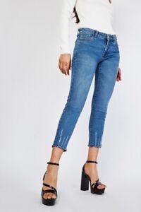 LadiesWomens, Denim Blue Distressed/Frayed Ankle Skinny Jeans Size 26-28