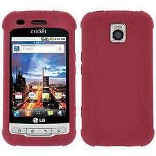 AMZER Silicone Skin Jelly Case Cover for LG Optimus C LW690/M MS690 - Maroon Red