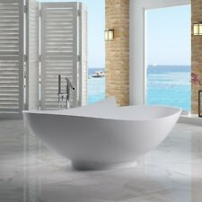 Free Standing Solid Surface Stone Modern Soaking Bathtub 70 x 41 inch - SW-127